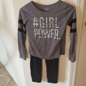 Set gray long sleeve tee and leggings